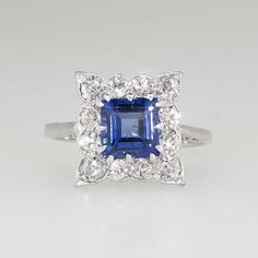 Lovely 1930's Emerald Cut Lab Sapphire & Diamond Halo Ring Platinum | Antique & Estate Jewelry | Jewelry Finds