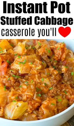 Instant Pot stuffed cabbage casserole is amazing! Packed with flavor it is a hearty dinner for sure. Instant Pot stuffed cabbage casserole is amazing! Packed with flavor it is a hearty dinner for sure. Crock Pot Recipes, Casserole Recipes, Beef Recipes, Healthy Recipes, Easy Instapot Recipes, Recipies, Instant Pot Cabbage Recipe, Best Instant Pot Recipe, Instant Pot Dinner Recipes