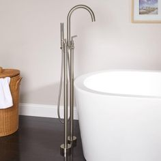 Desma+Gooseneck+Freestanding+Tub+Faucet $489 Height from floor to spout: 41-1/2""