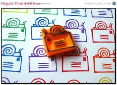 Snail Mail Hand Carved Stamp. Etsy. What an adorable hand carved stamp!