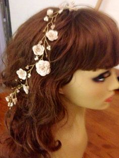 Wedding Prom Hair Vine Headband Polymer Clay Flowers Pearls Crystals