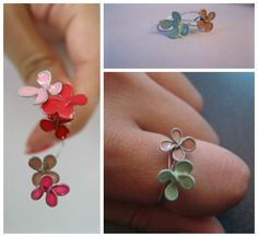 """""""Stained Glass"""" Flower Ring tutorial   26 gauge wire + nail polish"""