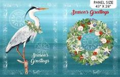 "Coastal Christmas Panel Seasons Greetings from Northcott 28"" x 44"" Christmas Fabric Panels, Longarm Quilting, Quilting Fabric, Color Swirl, Coastal Christmas, Quilt Kits, Cool Fabric, Seasons, Quilts"