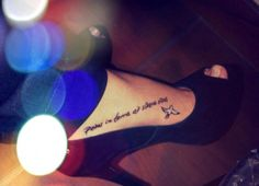 bird tattoo, quote tattoo, foot tattoo 'feet on the ground at the site of the stars'