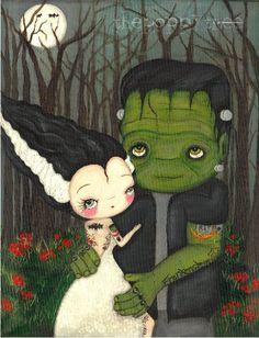 Frankenstein Print Tattooed Bride Of Frankenstein by thepoppytree