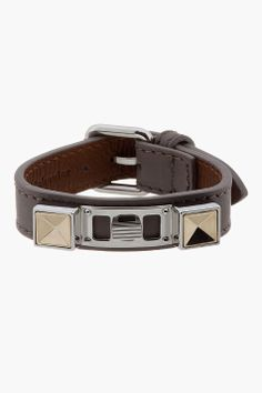 PROENZA SCHOULER Grey Studded Leather Bracelet