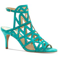 Vince Camuto Prisintha Caged Sandals (135 CAD) ❤ liked on Polyvore featuring shoes, sandals, island turquoise, turquoise shoes, vince camuto, turquoise sandals, vince camuto footwear and caged sandals
