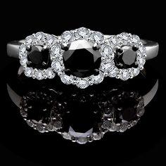1 CTW Round Black Diamond Halo Three-stone Engagement Ring in White Gold Black Diamond Wedding Rings, Black Diamond Necklace, Halo Diamond, Diamond Jewellery, Diamond Rings, A New York Minute, Queens Jewels, Three Stone Engagement Rings, White Gold