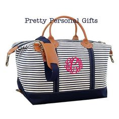 457b2af5d9e2 Weekender Bag - This large canvas navy stripe weekender bag is great for  travel and can