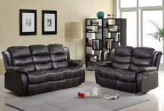 A.M.B. Furniture & Design :: Living room furniture :: Sofas and Sets :: Motion sofa sets :: 2 pc Smithee collection Dark brown bonded leather upholstered double reclining sofa and love seat set with accented stitching
