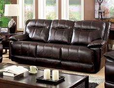 Furniture of America Varic Leatherette Reclining Sofa Brown - Durable Reclining Sofa, Home Furniture Online, Transitional Sofas, Brown Sofa, Upholstered Sofa, Furniture, Leather Upholstery, Red Sofa, Furniture Of America
