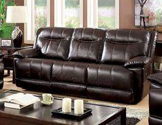 Furniture of America Varic Leatherette Reclining Sofa Brown - Durable Lounge Furniture, Living Room Furniture, Living Room Decor, Studio Furniture, Home Furniture Online, Furniture Deals, Cool Couches, Leather Reclining Sofa, Brown Sofa