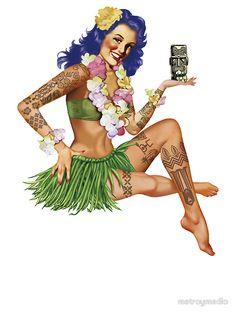 'Hawaiian Pin-up' Sticker by metroymedio Hawaiian Tattoo Meanings, Hawaiian Flower Tattoos, Hawaiian Tribal Tattoos, Hawaiian Tiki, Blue Hawaiian, Vintage Hawaiian, Pin Up Girl Tattoo, Girl Tattoos, Hawaii Tattoos