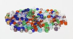 Faceted Glass Rondelle Beads in Assorted Colors 3 MM X 4 MM by BeadsFromHaven on Etsy