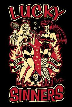 Lucky sinners angel and devil pinup by sol rac Arte Grunge, Grunge Art, Rockabilly Pin Up, Rockabilly Fashion, Arte Horror, Horror Art, Pot Pourri, Gothabilly, Pin Up Tattoos