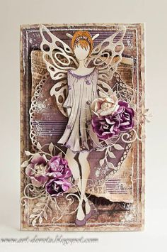 Dorota_mk, Card with lady (fairy) and flowers