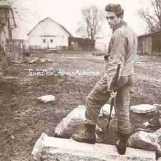 James Dean photographed by Dennis Stock on his uncle Marcus's farm in Fairmount Indiana.