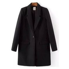 Lapel Single Button Pockets Woolen Black Coat (145 BRL) ❤ liked on Polyvore featuring outerwear, coats, woolen coat, one button coat, lapel coats, pocket coat and lapels wool coat