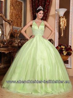 Mint Grünes V Dekoltee Abendkleid Sissi Ballkleid