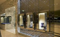 tall cases for display example Trewarne Fine Jewelry store by MIM Design, Chadstone – Australia store design