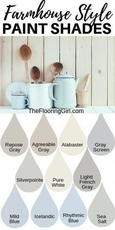 Farmhouse style paint shades from Sherwin Williams. These modern farmhouse style. Farmhouse style paint shades from Sherwin Williams. These modern farmhouse style shades will transform you home into a cozy rustic look. Fixer Upper Paint Colors, Neutral Paint Colors, Interior Paint Colors, Paint Colors For Home, House Colors, Paint Decor, Room Colors, Wall Decor, Bedroom Decor