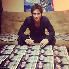 Ian signing the valentine cards! <3