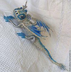 "Brooches handmade. Livemaster - handmade. Buy Dragon brooch ""Snow"". Brooch beads. Embroidered dragon..Brooch, brooch handmade, brooch"