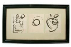 "Black and white charcoal triptych, abstract and figural 38.5"" W 22.5"" H Origin: American, circa 1940"