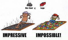 Hot coal vs. Lego, I would wanna do Lego because u could build your self a bridge to cross. Which one would you choose?