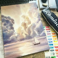 Gorgeous #nautical #watercolor #illustration by Elena Vlasova (@eva_vla) of a lone #boat #sailing on an #ocean rendered the color of the #sky by the #sunset's #reflection. Great depiction of the #rippling #light cascading in the surface of the #sea #water at the bottom of the #painting and the golden lining around the dark #clouds is just amazing! This painting makes me feel as though I can smell the #saltspray and feel the cool #ocean #breeze. Great #artwork Elena!