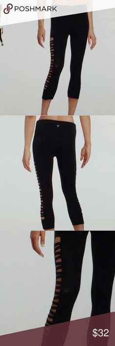 "Betsey Black Ladder Strap Capris Cute & sexy!🙀 These capris are 90% cotton & 10% spandex. They are machine washable and dry! Size large waist measures 15"" across laying flat & have a 18"" inseam. NWT Betsey Johnson Pants Ankle & Cropped"