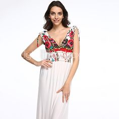 Women's Beach / Plus Size Boho Swing Dress,Print Deep V Maxi Sleeveless White Polyester Summer - USD $27.99 ! HOT Product! A hot product at an incredible low price is now on sale! Come check it out along with other items like this. Get great discounts, earn Rewards and much more each time you shop with us!