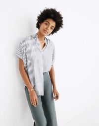 Madewell Central Shirt in Ballard Stripe - Size XXS Ankle Boots With Jeans, How To Wear Ankle Boots, Cuffed Jeans, Dresses For Teens, Club Dresses, Midi Dresses, Shirt Drawing, Night Club Outfits, Shirt Tucked In
