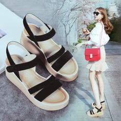 63.37$  Buy now - http://aliiil.worldwells.pw/go.php?t=32736933480 - Free Shipping 2016 Summer New Fashion Women Wedges Platform Shoes Thick Bottom Shoes Retro Rome Suede Shoes High-heeled Sandals 63.37$