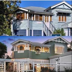 love this renovation of a gabled Queenslander home Queenslander House, Modern Shed, Bay Window, House Painting, Home Renovation, Fixer Upper, House Colors, The Hamptons, Kingfisher