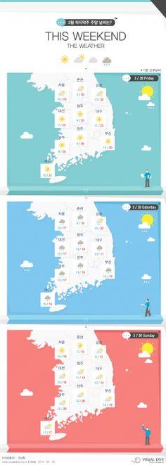 주말 날씨, 봄비 내린 후 따뜻한 봄 날씨 [인포그래픽] #weather #Infographic ⓒ 비주얼다이브 무단 복사·전재·재배포 금지