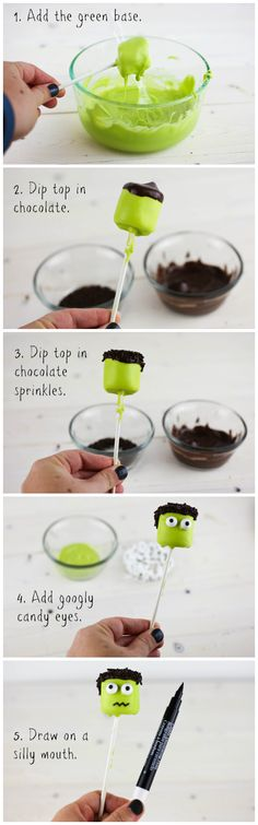 Easy Frankenstein Marshmallow Pops for Halloween