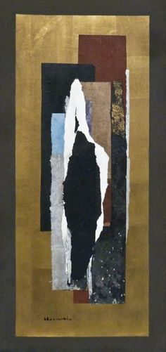 Lot 60- Paul Horiuchi (1906-1999 Washington) ''Segments of Oblivion'' 1977 Casein Collage on Board 20''x42'' Image. An impressive abstract with gold foil background. Signed l.r. and titled on verso. Gallery framed 44.5''x23''. Excellent condition.