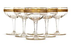 1950s Wide Gilt-Banded Coupes, S/6 on OneKingsLane.com