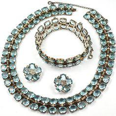 Trifari Sterling Philippe Aquamarine Necklace, Bracelet & Clip Earrings Set
