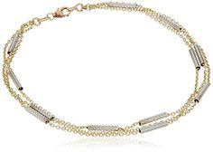 Anklet Length 10 Jewelry Adviser Bracelets Leslies 14k Two-tone Polished with 1in ext