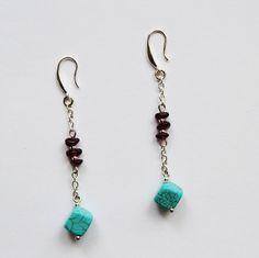 Genuine Turquoise Earrings. Drop Earrings. Gemstone Garnet