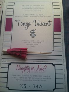 Anyone have a boat we can borrow????  Fun Nautical Themed invites for a boating bachelorette party