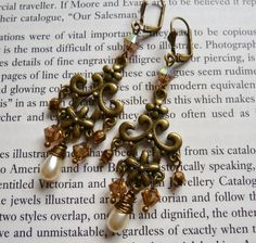 NOW SOLD! Vintage Inspired Handmade Chandelier Earrings with Swarovski Crystals and Wire wrapped Glass Pearls by LovesVintage43
