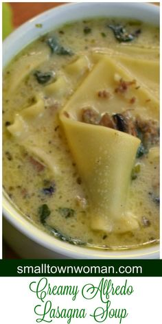 This Creamy Alfredo Lasagna Soup is the ultimate meal.  It is chock full of sausage, mushrooms, spinach and lasagna in a creamy Parmesan broth that is seasoned to perfection.    Of soup and love …the first is best!