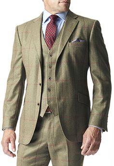 Men's Vintage Style Suits, Classic Suits Hewett Three Piece Tweed Check Suit Jacket £300.00 AT vintagedancer.com