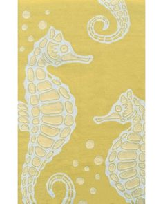Easy care, and long lasting color! Gorgeous Seahorse on butter yellow rug!