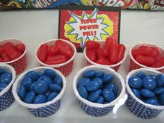Love this idea for a superhero birthday party! Power pills!