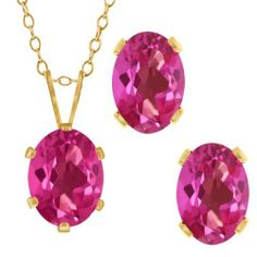 3.40 Ct Oval Pink Mystic Topaz Gold Plated Silver Pendant Earrings Set Gem Stone King. $24.99. This item is proudly custom made in the USA. This Item Contains 100% Natural Stones