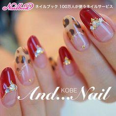 ネイル(No.1900175)|ミディアム |ブラウン |ベージュ |レッド |アニマル |ビジュー |フレンチ |ハンド |パーティー |冬 |お正月 |クリスマス |ジェルネイル |お客様 | かわいいネイルのデザインを探すならネイルブック!流行のデザインが丸わかり! Colorful Nail Designs, Gel Nail Designs, Beautiful Nail Designs, Beautiful Nail Art, Cute Nails, Pretty Nails, Valentine Nail Art, Lines On Nails, Gel Nails At Home
